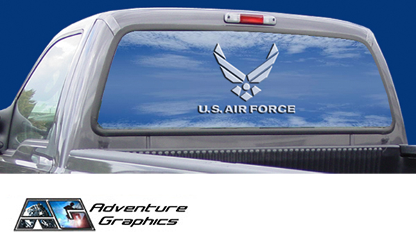 Window Graphics Product : Vehicle graphics rear window air force