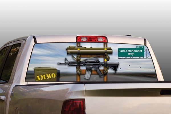 Ammendment truck or suv rear window graphic by vantage point concepts