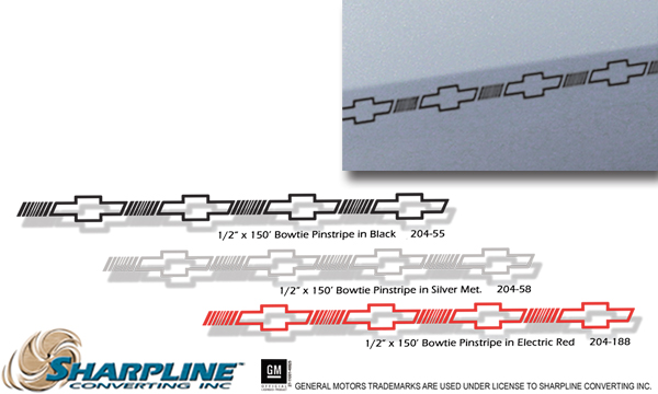 1//2 X 150-055 Black on clear Chevrolet Bowtie Stripe