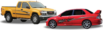 Automotive vinyl graphic kits, car graphics, truck graphics, van graphics, vehicle graphics.