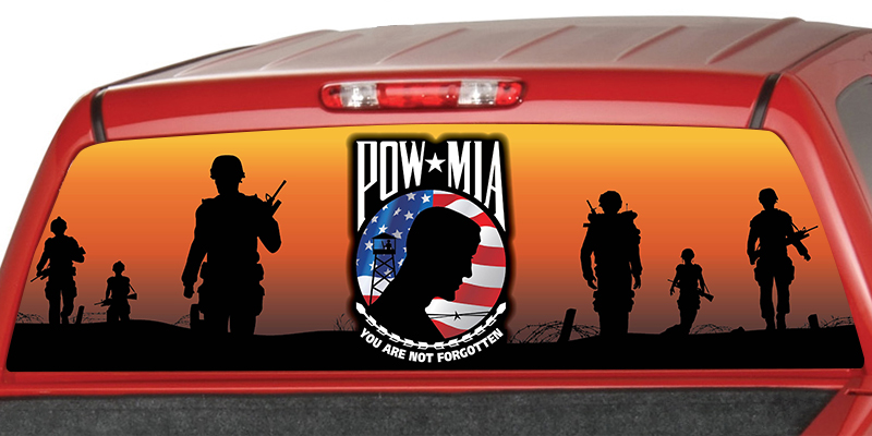 POW-MIA Soldiers in Sunset Rear Window Graphic