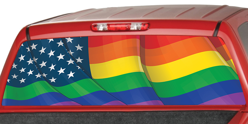 LGBTQ American Flag Rear Window Graphic