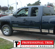 "Professional Trim 07-13 Chevrolet Extended Cab 6"" Stainless Steel Rocker Panels"