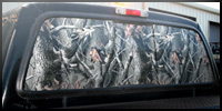 See-thru camouflage vinyl for truck windows.