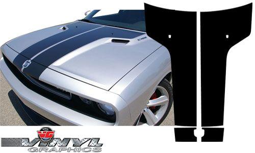 vehicle graphics 2008 2010 challenger dodge challenger black carbon fiber split t hood graphic. Black Bedroom Furniture Sets. Home Design Ideas
