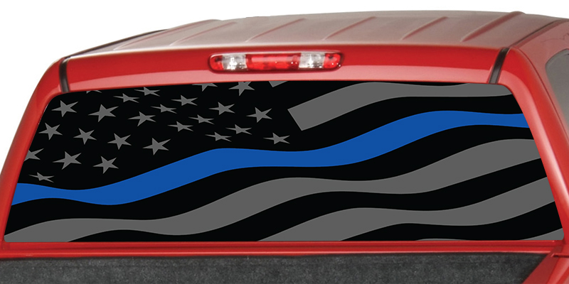 Thin Blue Line American Flag Rear Window Graphic