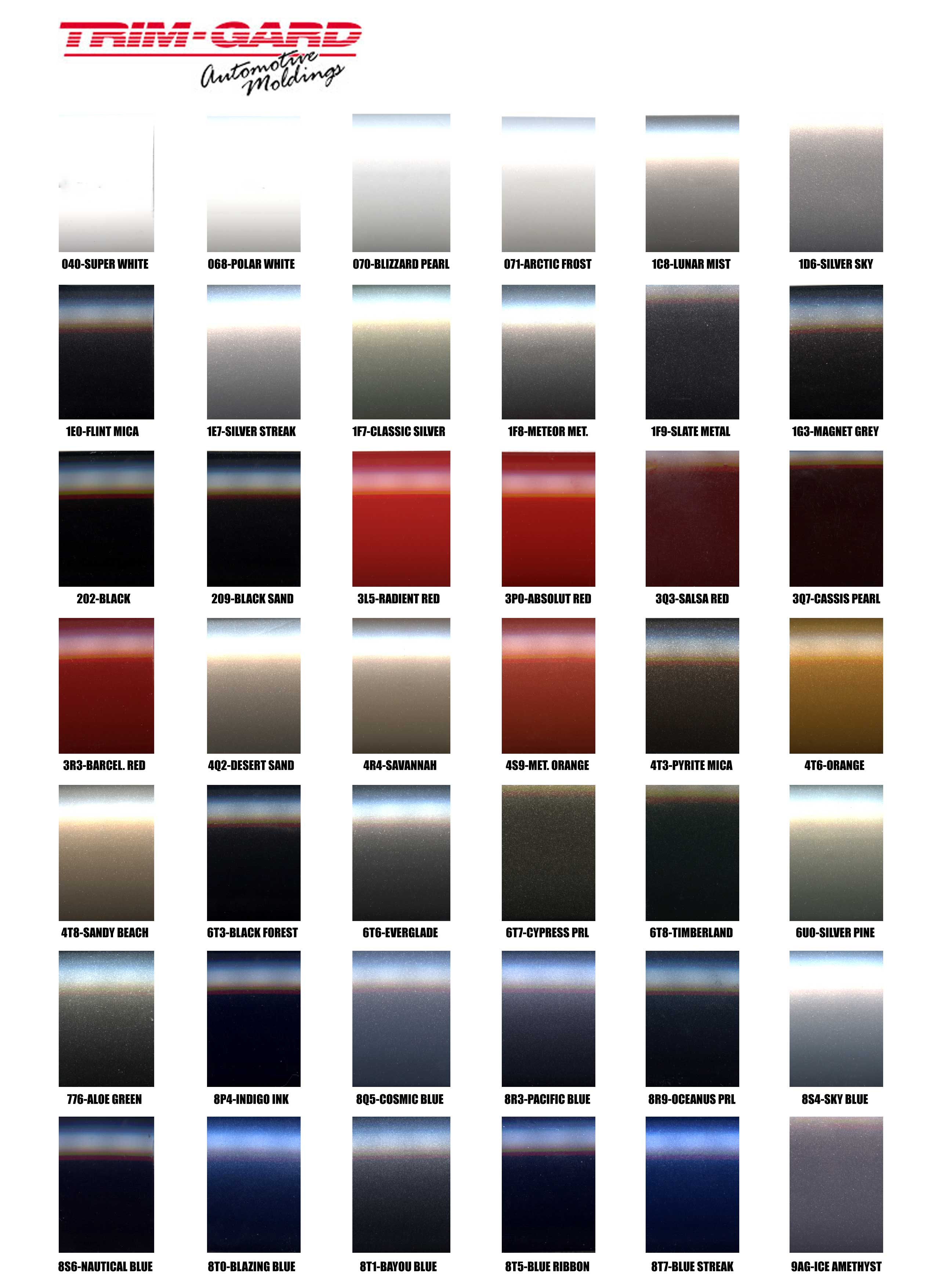 Vehicle Graphics Toyota Replica Colored Molding 2014 Ford Paint Color Chart