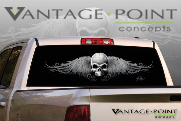 Vehicle Graphics Rear Window Graphics Wing Skull 2