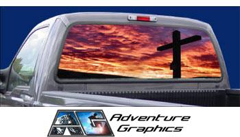 Vehicle Graphics Rear Window Graphics Religious Cross