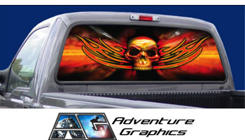 Vehicle Graphics Rear Window Graphics Tribal Skull Rear Window - Custom rear window decals for cars