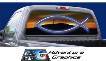 Glory custom truck or suv rear window graphic by adventure graphics