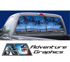 Paradise Custom Truck or SUV Rear Window Graphic by Adventure Graphics