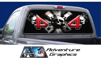 Vehicle Graphics Rear Window Graphics Skull Rear