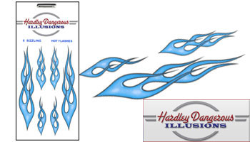 Vehicle Graphics Blue Vinyl Flame Stickers