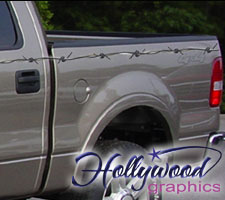 Vehicle Graphics Hollywood Graphics - Barb wire custom vinyl decals for trucks