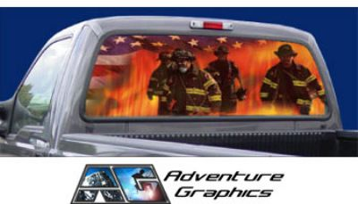 Vehicle Graphics Rear Window Graphics Firefighter Rear Window - Custom rear window decals for cars